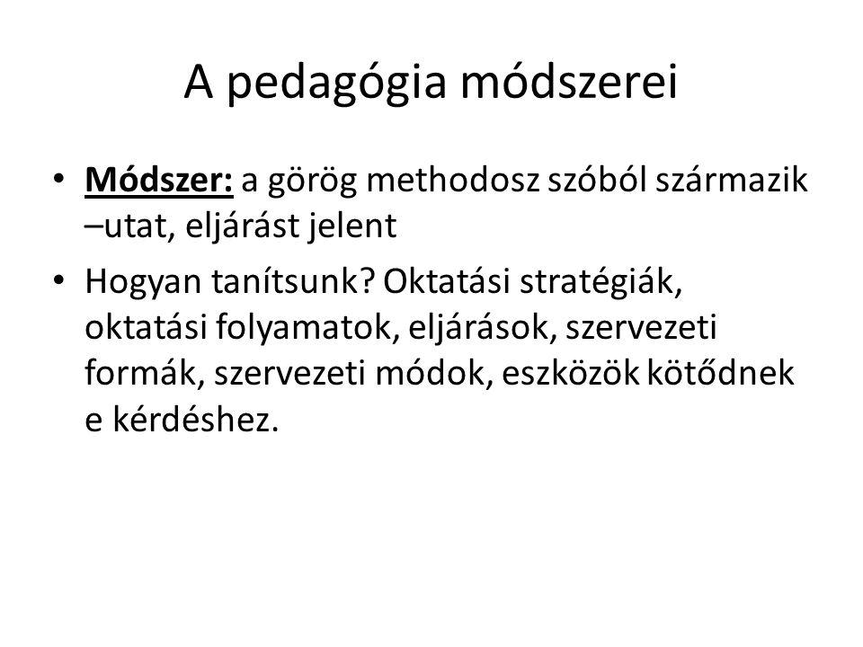 A pedagógia módszerei • Módszer: a görög methodosz szóból származik –utat, eljárást jelent • Hogyan tanítsunk? Oktatási stratégiák, oktatási folyamato