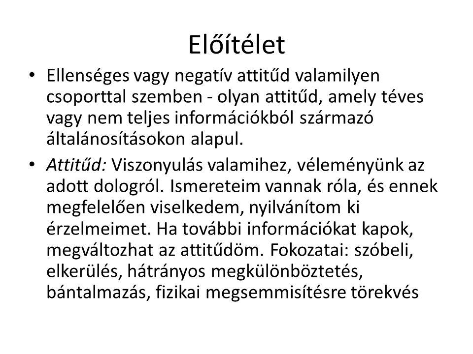 Előítélet • Ellenséges vagy negatív attitűd valamilyen csoporttal szemben - olyan attitűd, amely téves vagy nem teljes információkból származó általán