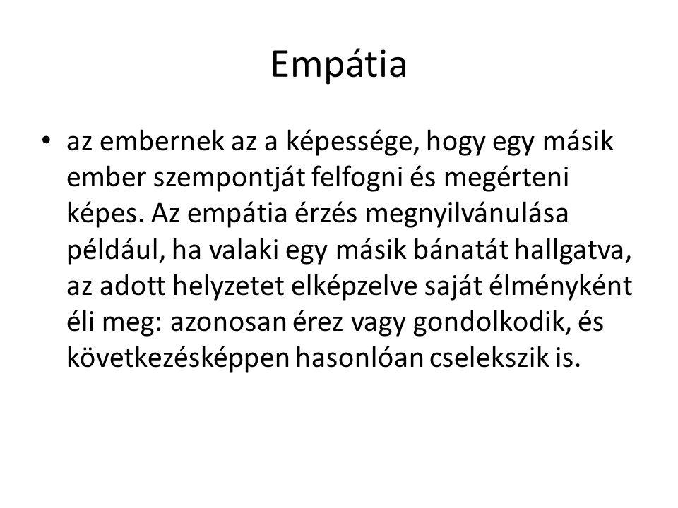 Empátia • az embernek az a képessége, hogy egy másik ember szempontját felfogni és megérteni képes. Az empátia érzés megnyilvánulása például, ha valak