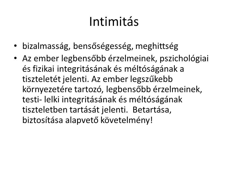 Intimitás • bizalmasság, bensőségesség, meghittség • Az ember legbensőbb érzelmeinek, pszichológiai és fizikai integritásának és méltóságának a tiszte