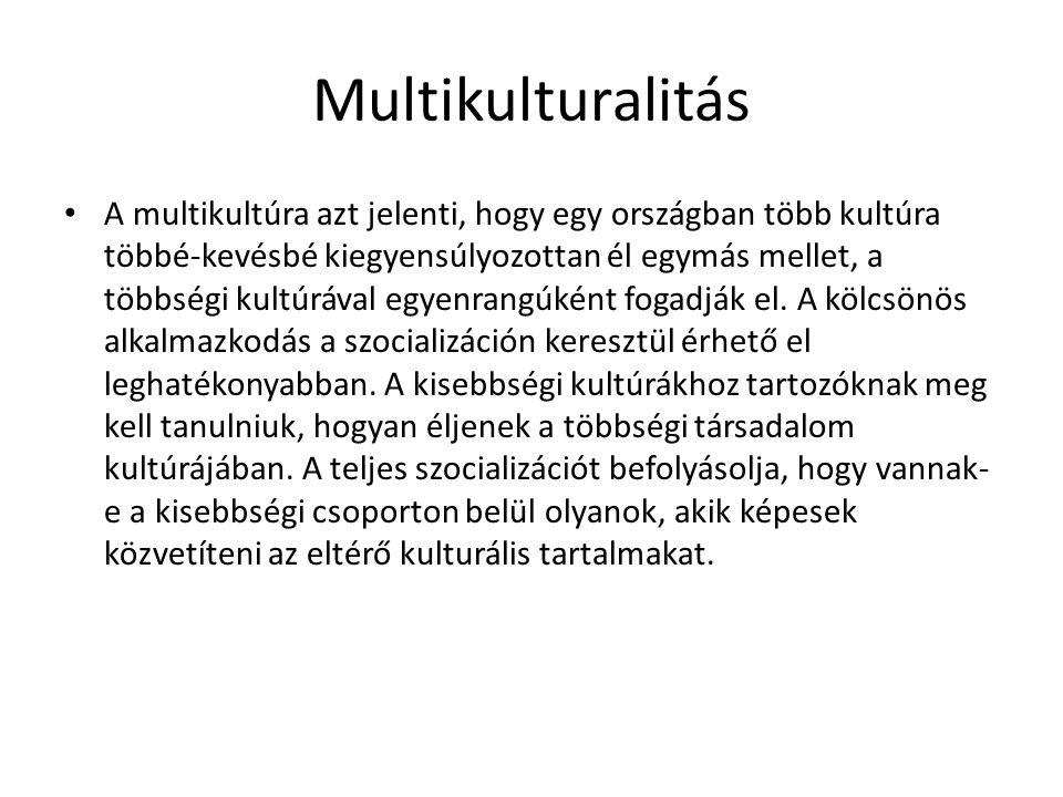 Multikulturalitás • A multikultúra azt jelenti, hogy egy országban több kultúra többé-kevésbé kiegyensúlyozottan él egymás mellet, a többségi kultúráv