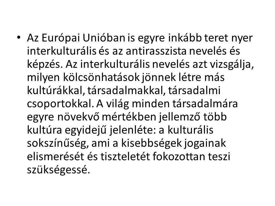 • Az Európai Unióban is egyre inkább teret nyer interkulturális és az antirasszista nevelés és képzés. Az interkulturális nevelés azt vizsgálja, milye