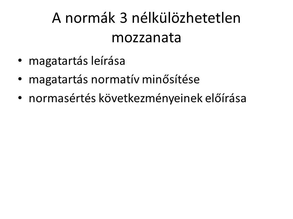 A normák 3 nélkülözhetetlen mozzanata • magatartás leírása • magatartás normatív minősítése • normasértés következményeinek előírása