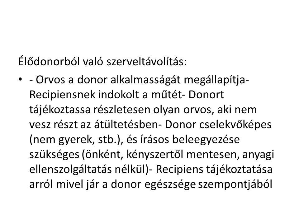 Élődonorból való szerveltávolítás: • - Orvos a donor alkalmasságát megállapítja- Recipiensnek indokolt a műtét- Donort tájékoztassa részletesen olyan