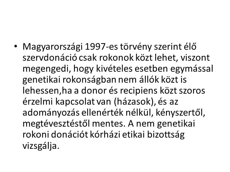 • Magyarországi 1997-es törvény szerint élő szervdonáció csak rokonok közt lehet, viszont megengedi, hogy kivételes esetben egymással genetikai rokons