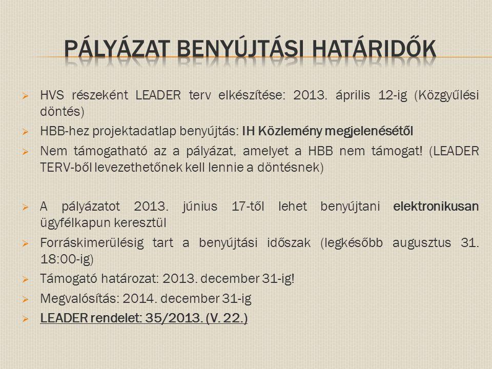  HVS részeként LEADER terv elkészítése: 2013. április 12-ig (Közgyűlési döntés)  HBB-hez projektadatlap benyújtás: IH Közlemény megjelenésétől  Nem