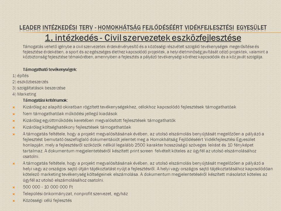 1. intézkedés - Civil szervezetek eszközfejlesztése Támogatás vehető igénybe a civil szervezetek érdekérvényesítő és a közösségi részvételt szolgáló t