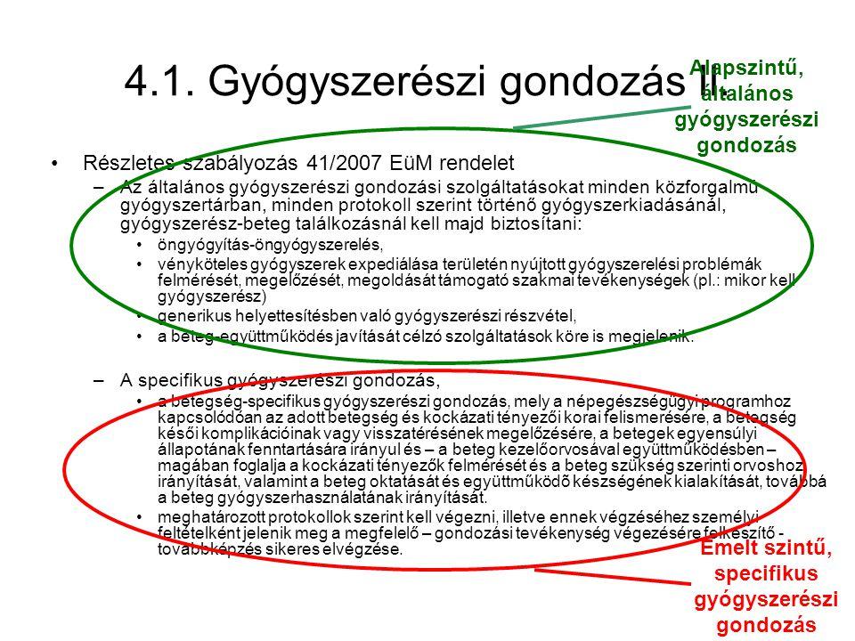 4.1. Gyógyszerészi gondozás II. •Részletes szabályozás 41/2007 EüM rendelet –Az általános gyógyszerészi gondozási szolgáltatásokat minden közforgalmú