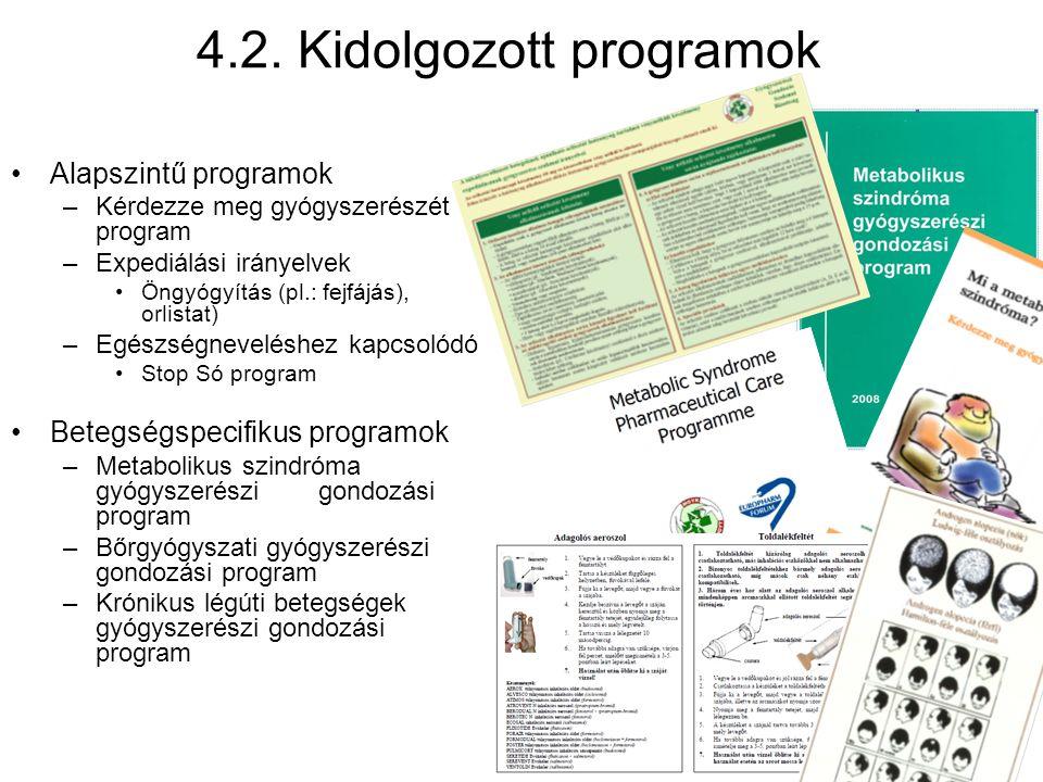 4.2. Kidolgozott programok •Alapszintű programok –Kérdezze meg gyógyszerészét program –Expediálási irányelvek •Öngyógyítás (pl.: fejfájás), orlistat)