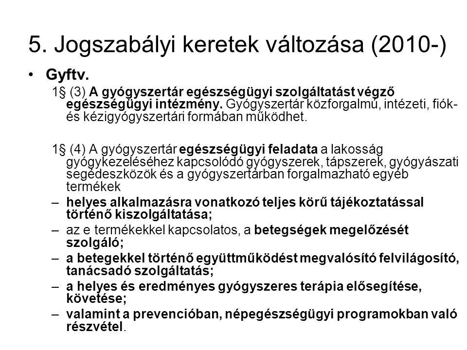 5. Jogszabályi keretek változása (2010-) •Gyftv. 1§ (3) A gyógyszertár egészségügyi szolgáltatást végző egészségügyi intézmény. Gyógyszertár közforgal