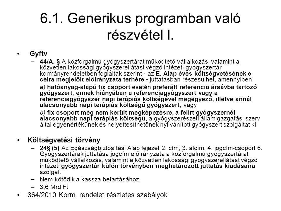 6.1. Generikus programban való részvétel I. • Gyftv –44/A. § A közforgalmú gyógyszertárat működtető vállalkozás, valamint a közvetlen lakossági gyógys