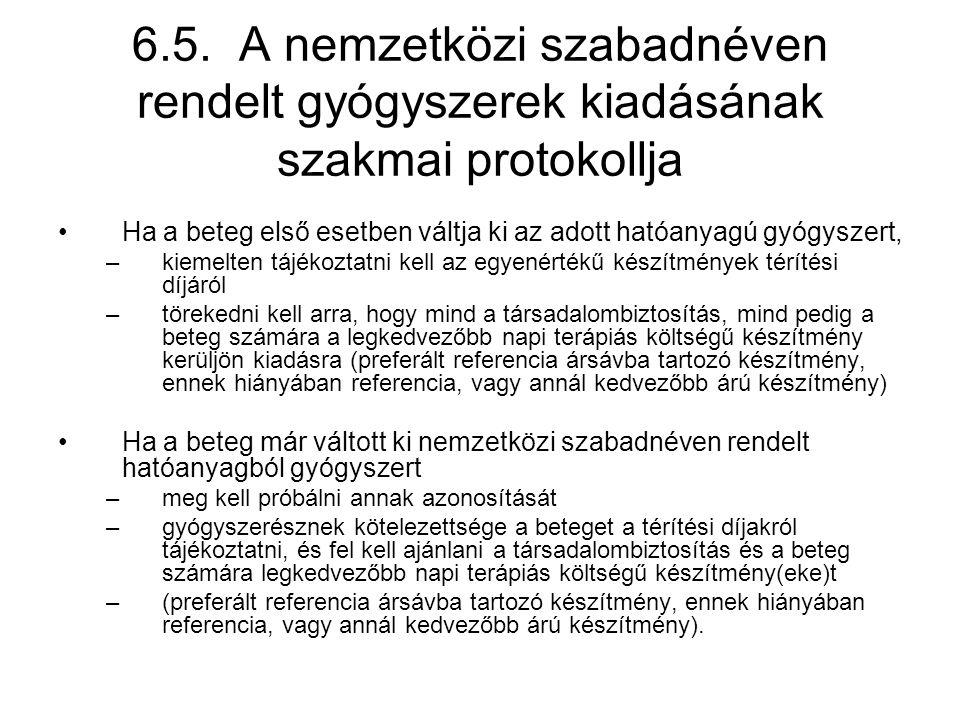 6.5. A nemzetközi szabadnéven rendelt gyógyszerek kiadásának szakmai protokollja •Ha a beteg első esetben váltja ki az adott hatóanyagú gyógyszert, –k