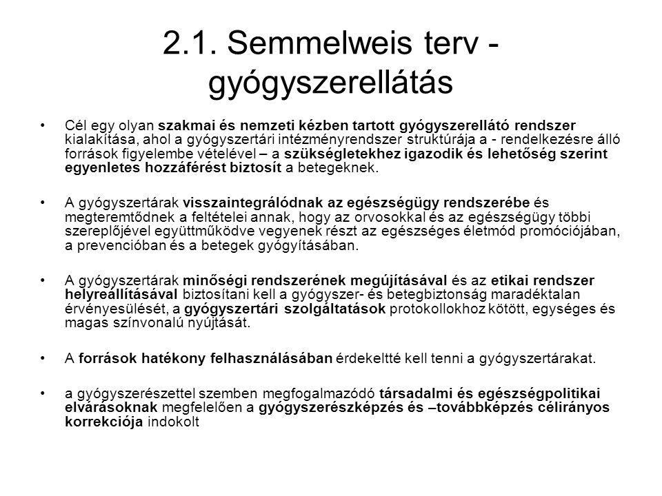 2.1. Semmelweis terv - gyógyszerellátás •Cél egy olyan szakmai és nemzeti kézben tartott gyógyszerellátó rendszer kialakítása, ahol a gyógyszertári in