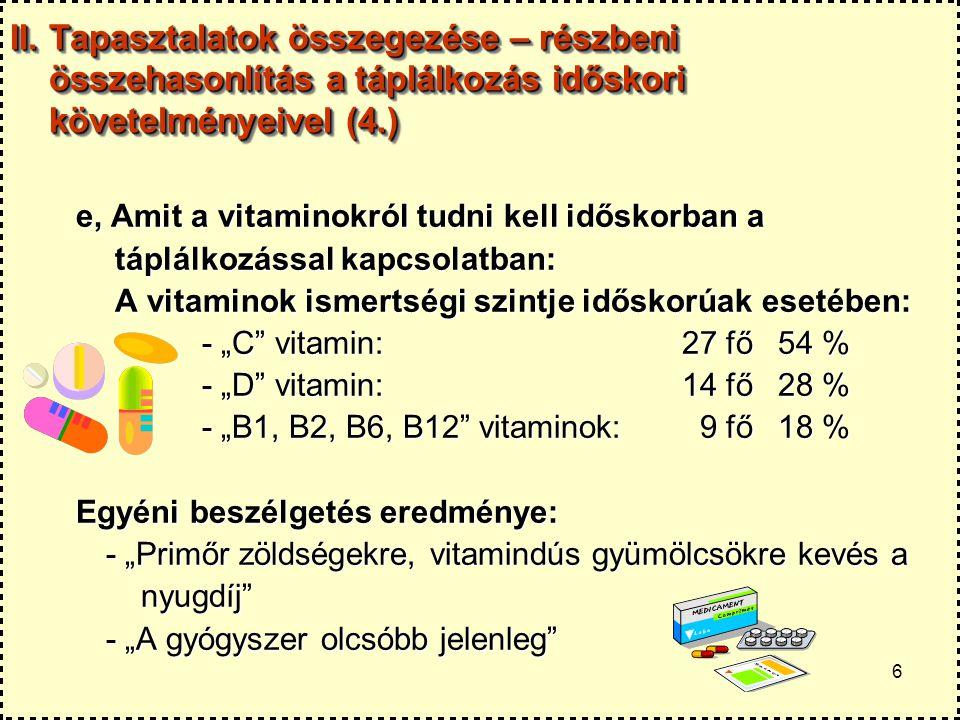 6 II. Tapasztalatok összegezése – részbeni összehasonlítás a táplálkozás időskori követelményeivel (4.) e, Amit a vitaminokról tudni kell időskorban a