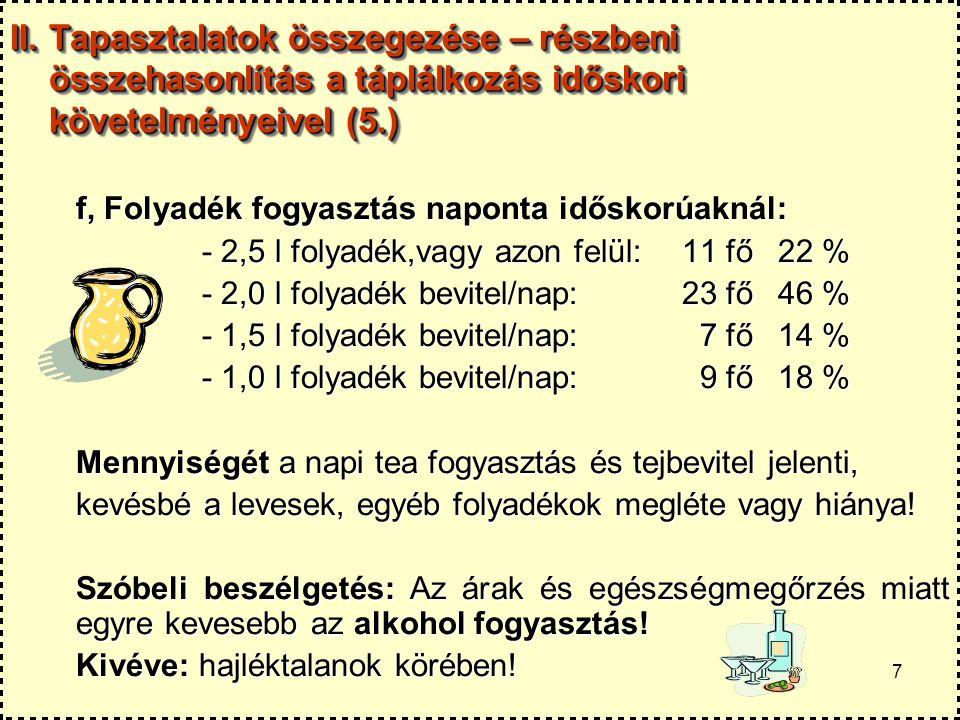 7 II. Tapasztalatok összegezése – részbeni összehasonlítás a táplálkozás időskori követelményeivel (5.) f, Folyadék fogyasztás naponta időskorúaknál: