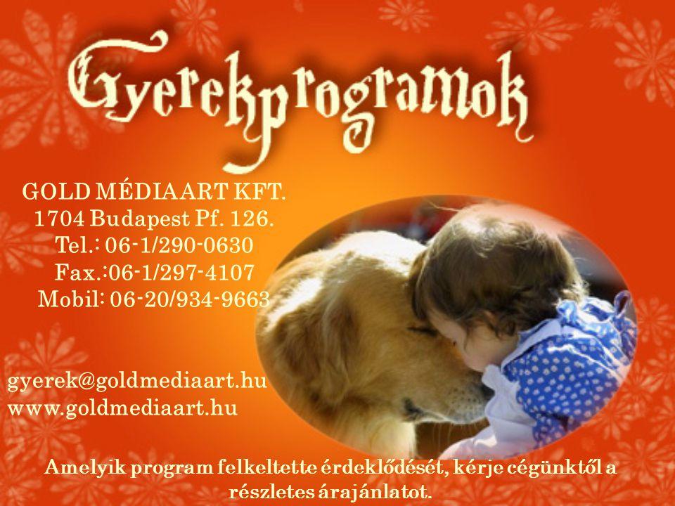 GOLD MÉDIA ART KFT. 1704 Budapest Pf. 126. Tel.: 06-1/290-0630 Fax.:06-1/297-4107 Mobil: 06-20/934-9663 gyerek@goldmediaart.hu www.goldmediaart.hu Ame