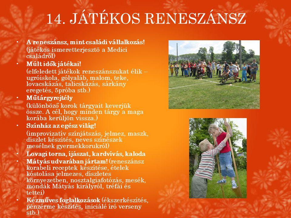 14. JÁTÉKOS RENESZÁNSZ •A reneszánsz, mint családi vállalkozás! (játékos ismeretterjesztö a Medici családról) •Múlt idők játékai! (elfeledett játékok