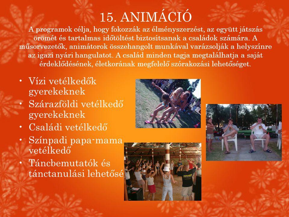 15. ANIMÁCIÓ A programok célja, hogy fokozzák az élményszerzést, az együtt játszás örömét és tartalmas időtöltést biztosítsanak a családok számára. A