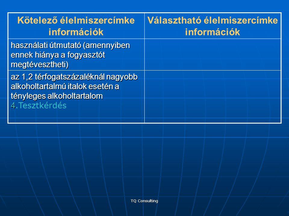 TQ Consulting Kötelező élelmiszercímke információk Választható élelmiszercímke információk használati útmutató (amennyiben ennek hiánya a fogyasztót m