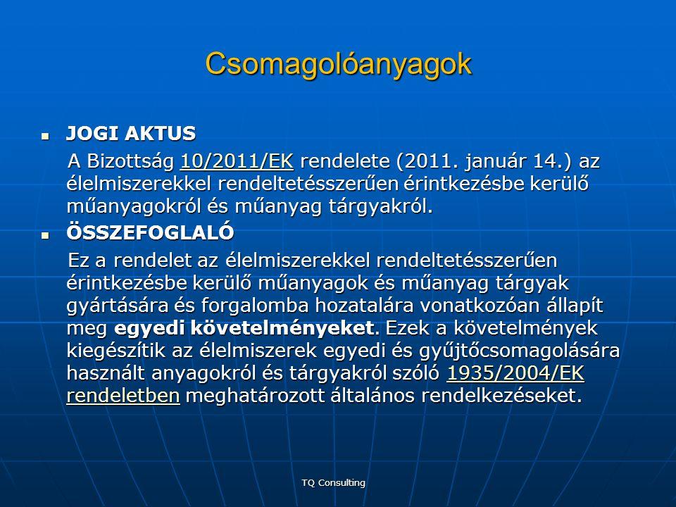Csomagolóanyagok  JOGI AKTUS A Bizottság 10/2011/EK rendelete (2011. január 14.) az élelmiszerekkel rendeltetésszerűen érintkezésbe kerülő műanyagokr
