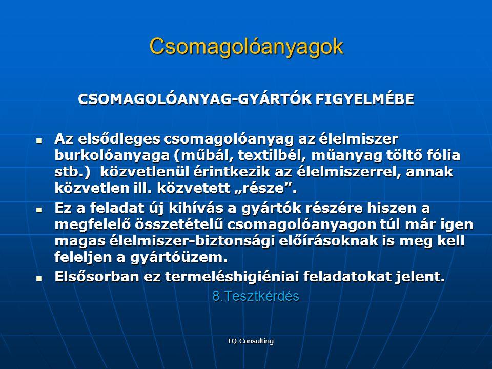 Csomagolóanyagok CSOMAGOLÓANYAG-GYÁRTÓK FIGYELMÉBE CSOMAGOLÓANYAG-GYÁRTÓK FIGYELMÉBE  Az elsődleges csomagolóanyag az élelmiszer burkolóanyaga (műbál