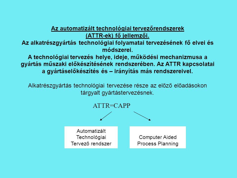 Automatizált Technológiai Tervező rendszer Computer Aided Process Planning ATTR=CAPP Az automatizált technológiai tervezőrendszerek (ATTR-ek) fő jelle