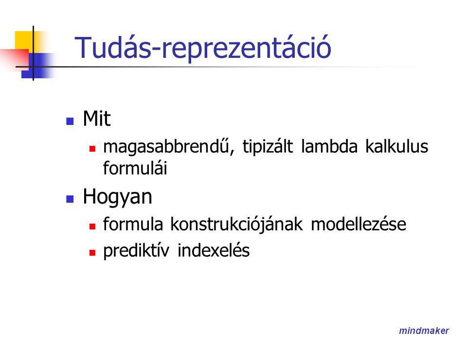 mindmaker Tudás-reprezentáció  Mit  magasabbrendű, tipizált lambda kalkulus formulái  Hogyan  formula konstrukciójának modellezése  prediktív indexelés