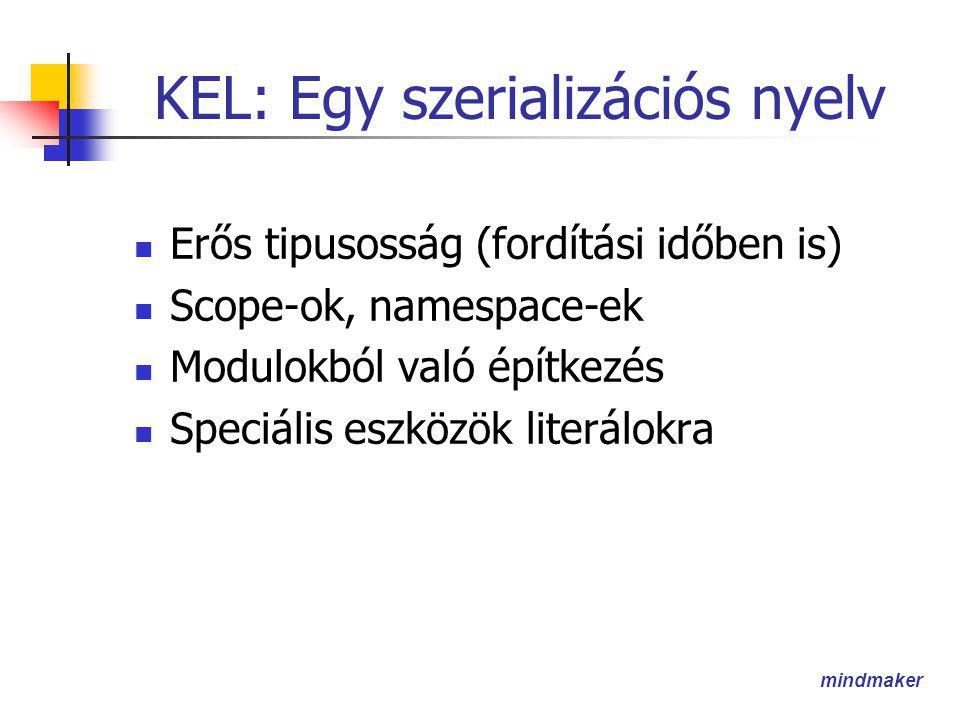 mindmaker KEL: Egy szerializációs nyelv  Erős tipusosság (fordítási időben is)  Scope-ok, namespace-ek  Modulokból való építkezés  Speciális eszközök literálokra