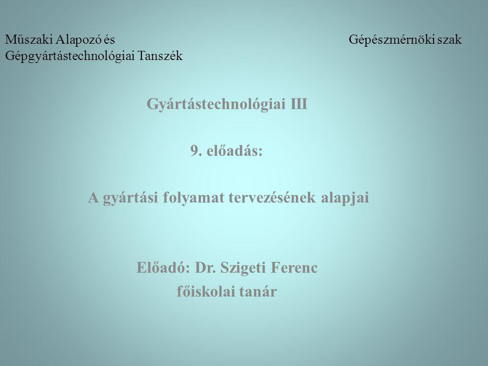 Műszaki Alapozó és Gépészmérnöki szak Gépgyártástechnológiai Tanszék Gyártástechnológiai III 9. előadás: A gyártási folyamat tervezésének alapjai Előa