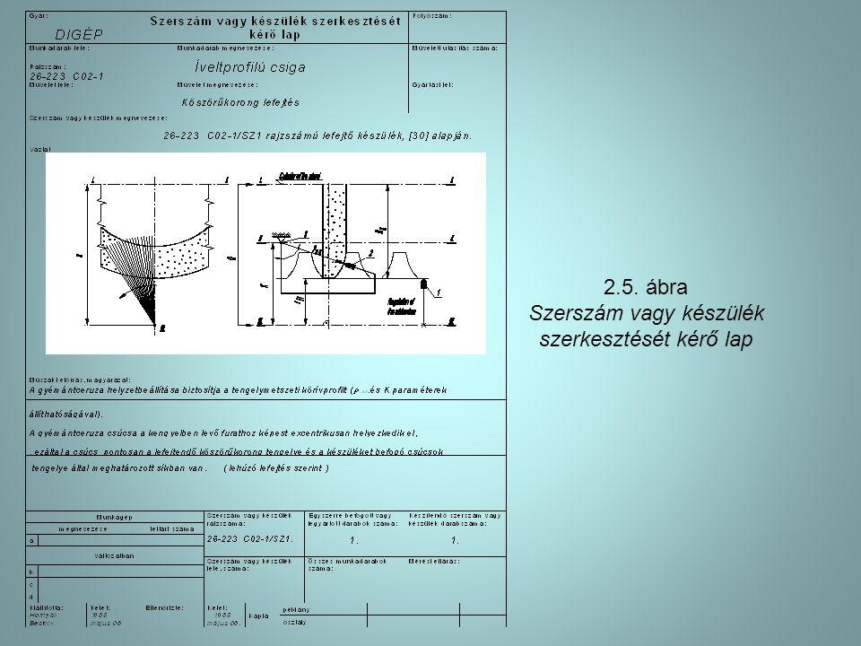 2.5. ábra Szerszám vagy készülék szerkesztését kérő lap