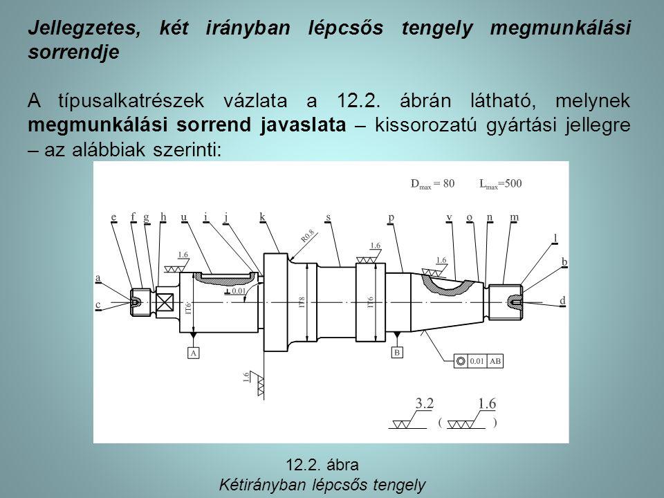 Jellegzetes, két irányban lépcsős tengely megmunkálási sorrendje A típusalkatrészek vázlata a 12.2. ábrán látható, melynek megmunkálási sorrend javasl