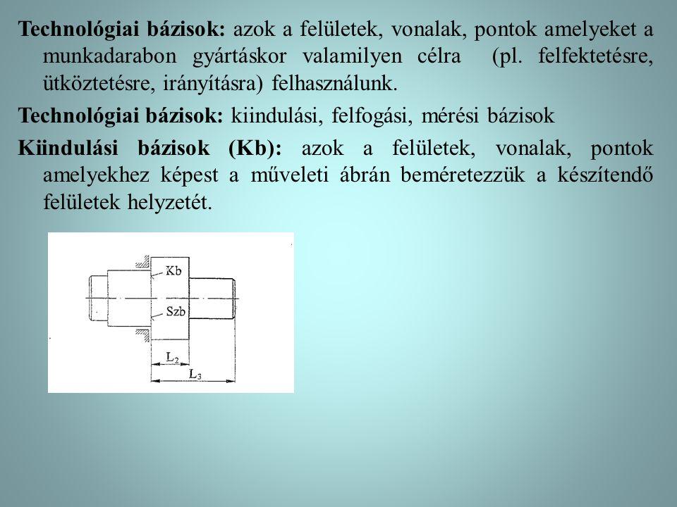 Technológiai bázisok: azok a felületek, vonalak, pontok amelyeket a munkadarabon gyártáskor valamilyen célra (pl. felfektetésre, ütköztetésre, irányít