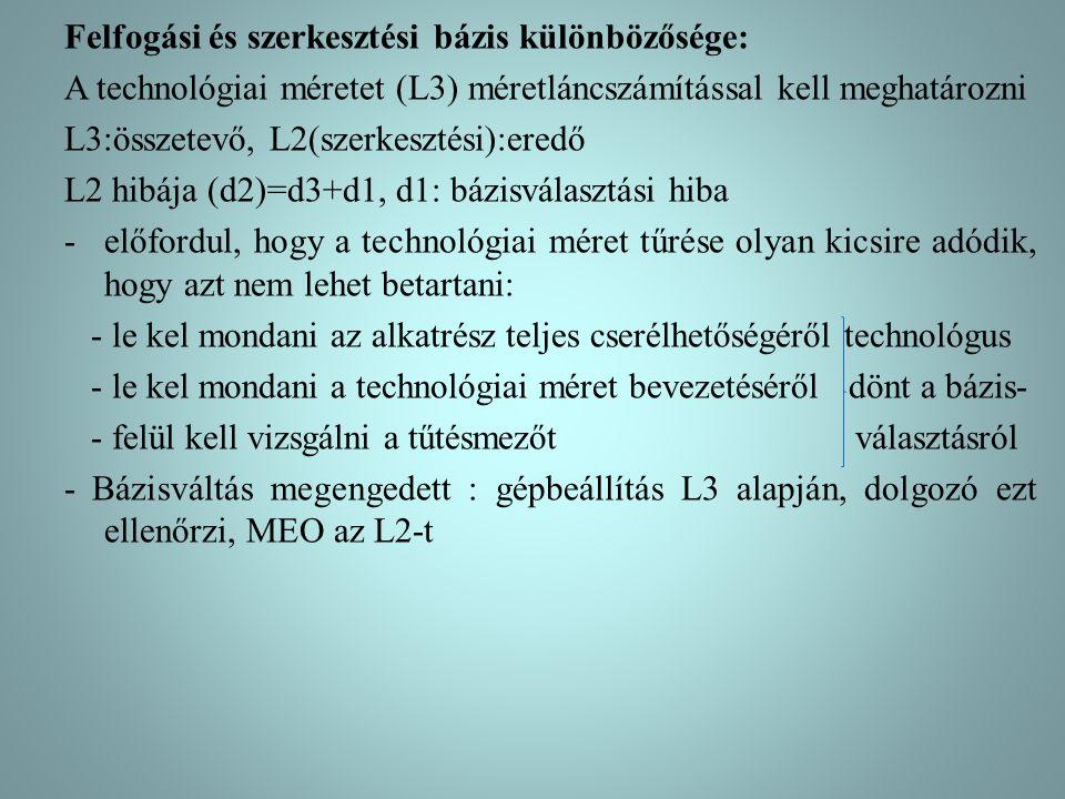 Felfogási és szerkesztési bázis különbözősége: A technológiai méretet (L3) méretláncszámítással kell meghatározni L3:összetevő, L2(szerkesztési):eredő