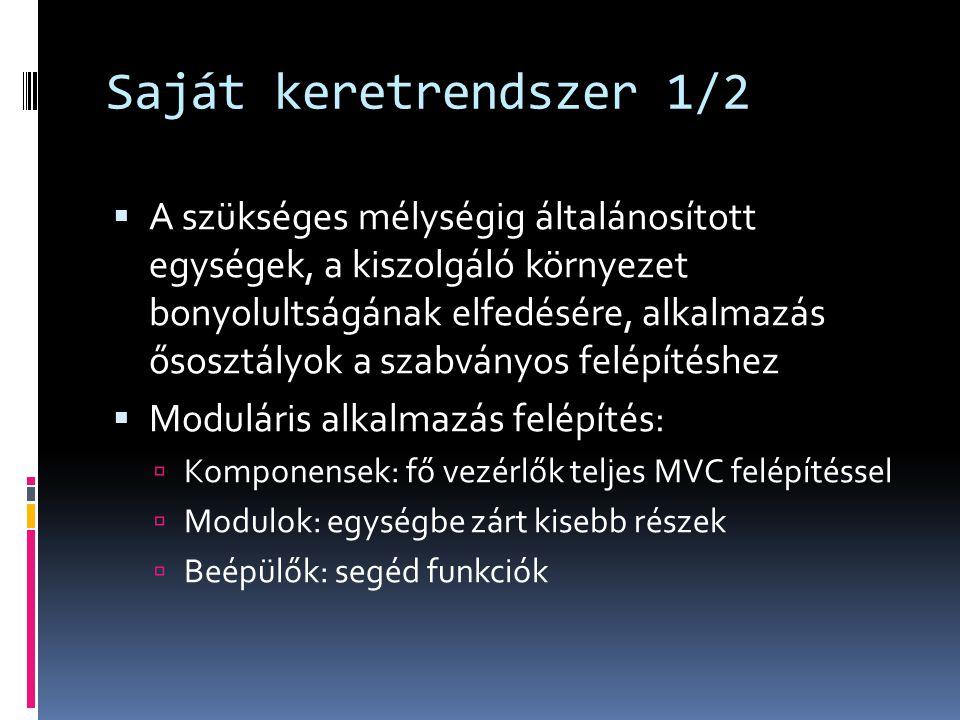 Saját keretrendszer 2/2  Egységtípusok:  Application, ClassLoader, Config, Error, Exception, Log, MVC, Request, Response, Router, Language, Validator, Cache, Resource, Session, User, ACL, Mail, Export, Pattern  Statisztika:  20 névtér, 63 osztály, 358 metódus, 4441 sor kód  Részek:  application, batch, common, framework, media, resource  + tools, vendor
