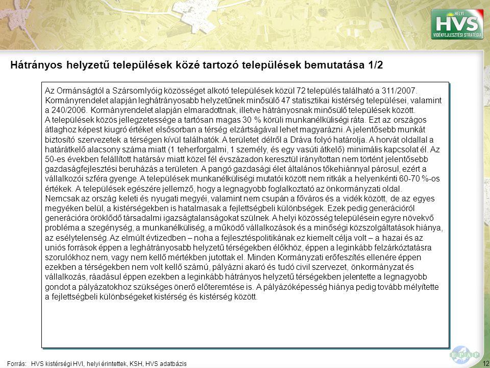 12 Az Ormánságtól a Szársomlyóig közösséget alkotó települések közül 72 település található a 311/2007. Kormányrendelet alapján leghátrányosabb helyze
