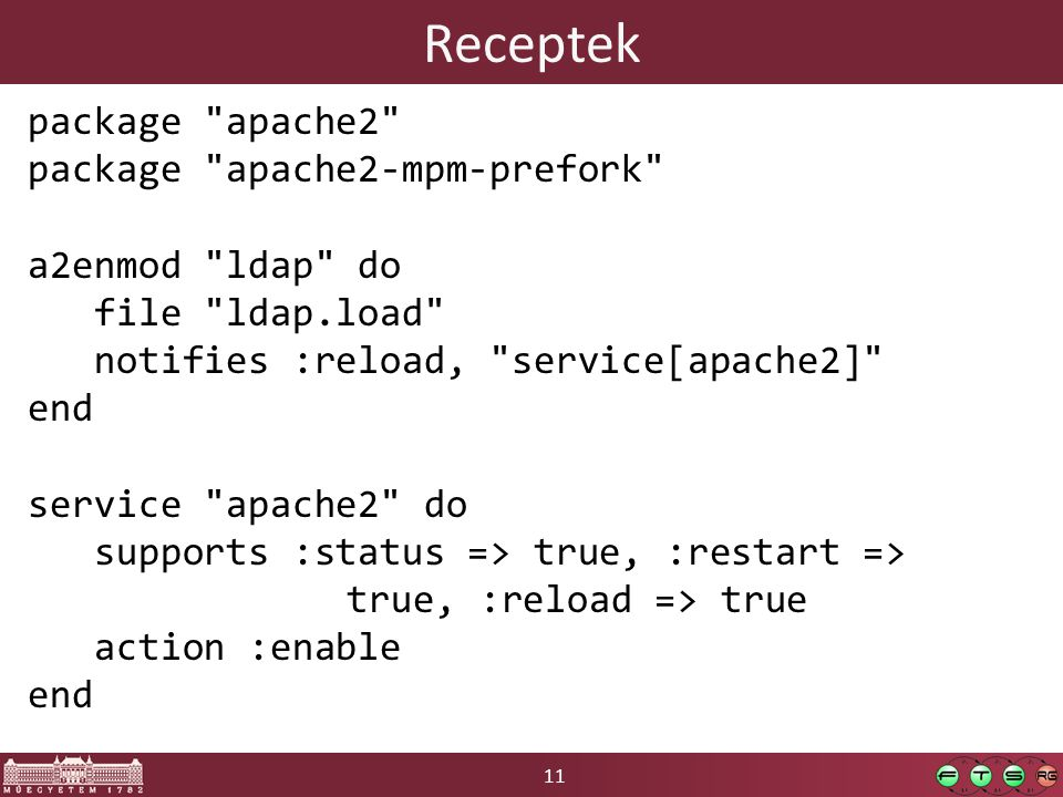11 Receptek package apache2 package apache2-mpm-prefork a2enmod ldap do file ldap.load notifies :reload, service[apache2] end service apache2 do supports :status => true, :restart => true, :reload => true action :enable end