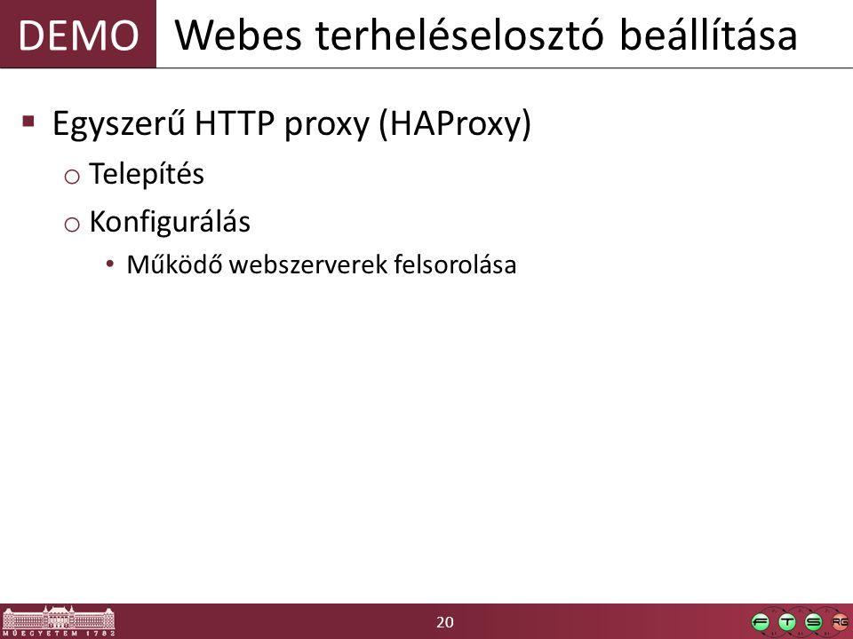 20 DEMO  Egyszerű HTTP proxy (HAProxy) o Telepítés o Konfigurálás • Működő webszerverek felsorolása Webes terheléselosztó beállítása
