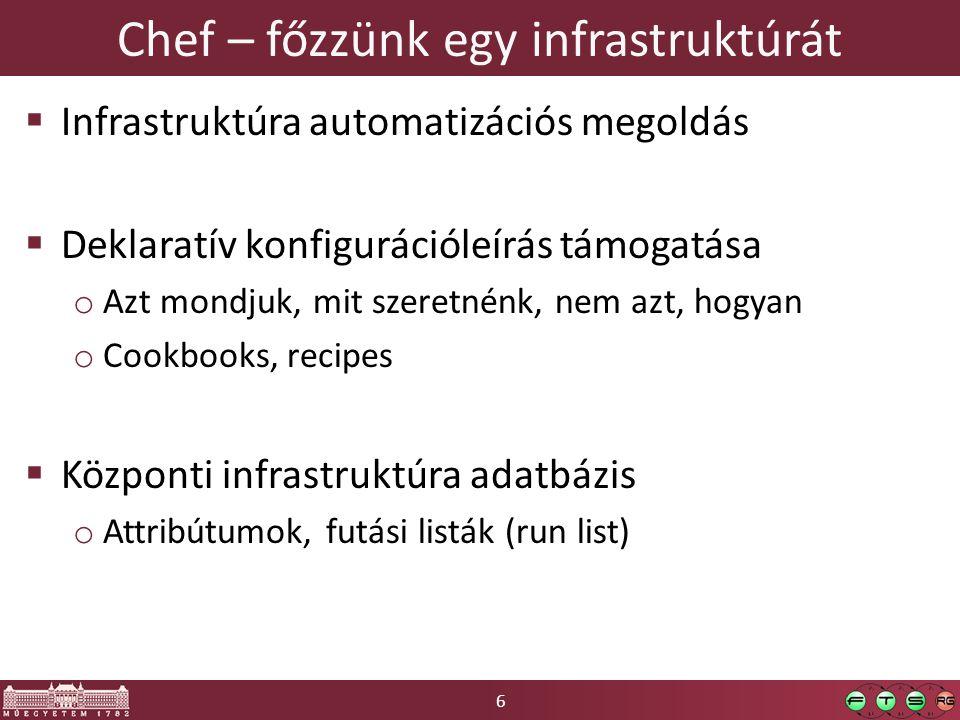 6 Chef – főzzünk egy infrastruktúrát  Infrastruktúra automatizációs megoldás  Deklaratív konfigurációleírás támogatása o Azt mondjuk, mit szeretnénk, nem azt, hogyan o Cookbooks, recipes  Központi infrastruktúra adatbázis o Attribútumok, futási listák (run list)