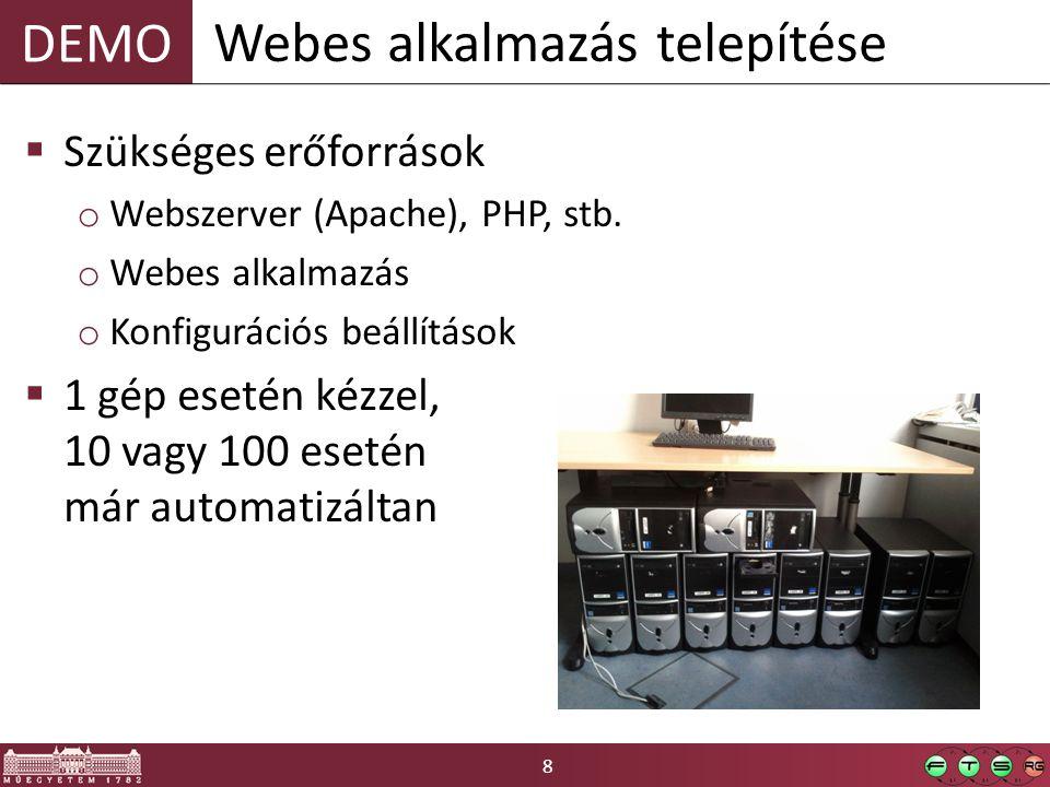 9 Deklaratív konfigurációmegadás  Recept (recipe) o Erőforrások deklaratív megadása o Ruby nyelv  Szakácskönyv (cookbook) o Receptek o Attribútumok o Sablonok o Stb.