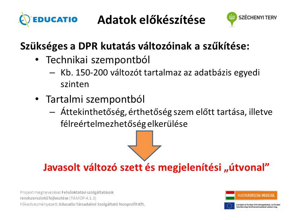 Szükséges a DPR kutatás változóinak a szűkítése: • Technikai szempontból – Kb.