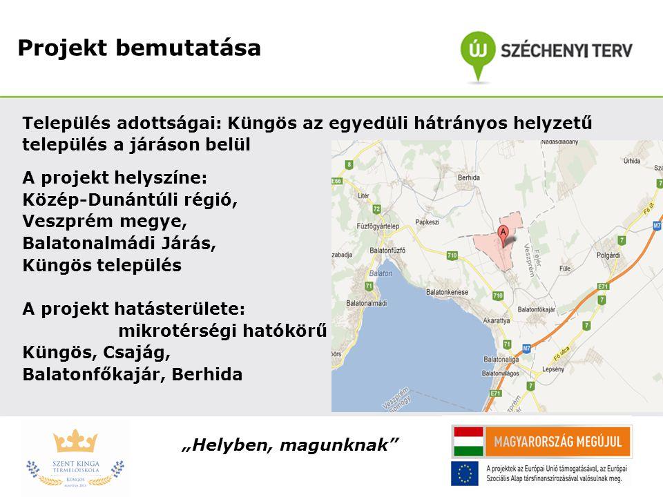 Projekt bemutatása Település adottságai: Küngös az egyedüli hátrányos helyzetű település a járáson belül A projekt helyszíne: Közép-Dunántúli régió, V