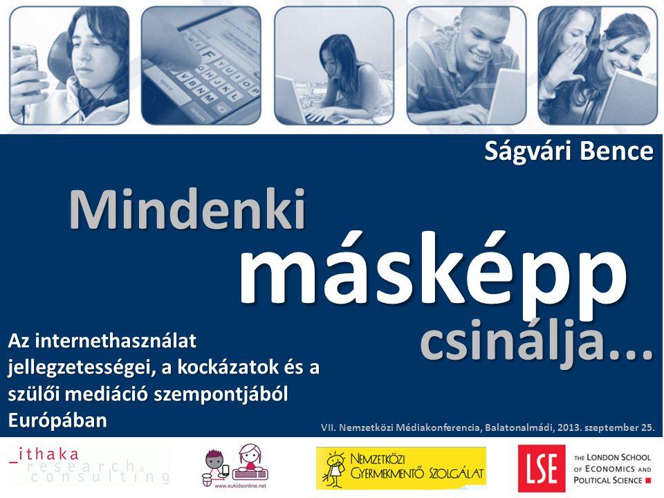 Mindenki Ságvári Bence másképp VII. Nemzetközi Médiakonferencia, Balatonalmádi, 2013. szeptember 25. Az internethasználat jellegzetességei, a kockázat