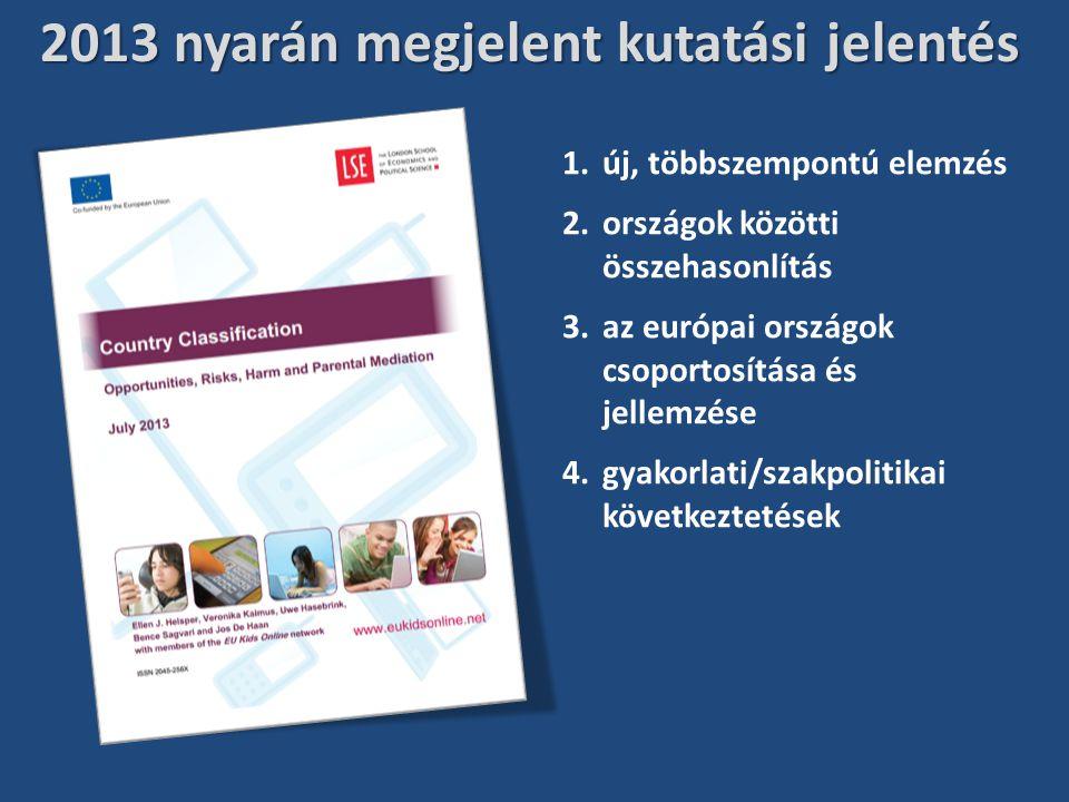 2013 nyarán megjelent kutatási jelentés 1.új, többszempontú elemzés 2.országok közötti összehasonlítás 3.az európai országok csoportosítása és jellemzése 4.gyakorlati/szakpolitikai következtetések