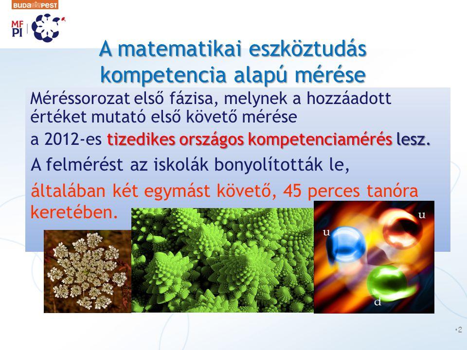 A matematikai eszköztudás kompetencia alapú mérése Méréssorozat első fázisa, melynek a hozzáadott értéket mutató első követő mérése tizedikes országos