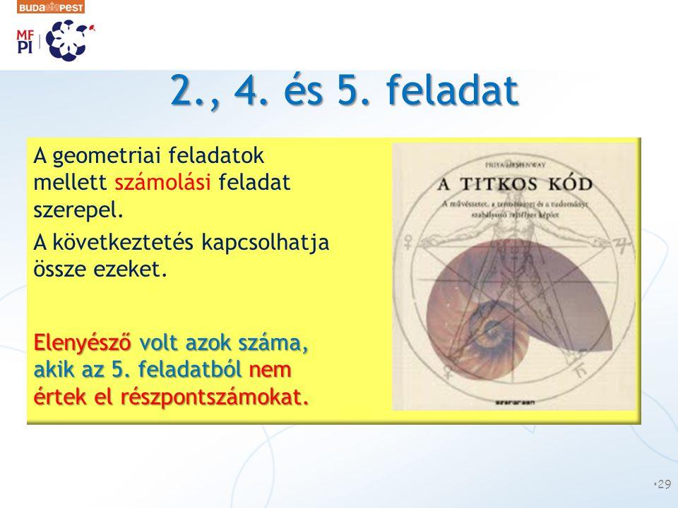 2., 4. és 5. feladat •29 A geometriai feladatok mellett számolási feladat szerepel. A következtetés kapcsolhatja össze ezeket. Elenyésző volt azok szá