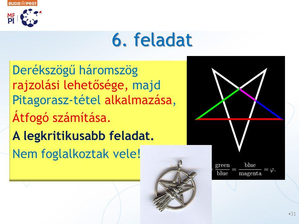 6. feladat •31 Derékszögű háromszög rajzolási lehetősége, majd Pitagorasz-tétel alkalmazása, Átfogó számítása. A legkritikusabb feladat. Nem foglalkoz