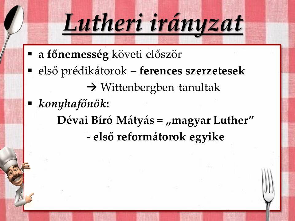 """Lutheri irányzat  a főnemesség követi először  első prédikátorok – ferences szerzetesek  Wittenbergben tanultak  konyhafőnök: Dévai Bíró Mátyás = """"magyar Luther - első reformátorok egyike"""