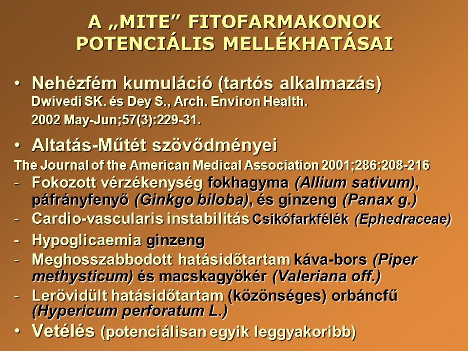 """A """"MITE"""" FITOFARMAKONOK POTENCIÁLIS MELLÉKHATÁSAI •Nehézfém kumuláció (tartós alkalmazás) Dwivedi SK. és Dey S., Arch. Environ Health. 2002 May-Jun;57"""