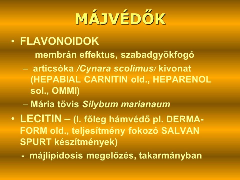 MÁJVÉDŐK •FLAVONOIDOK membrán effektus, szabadgyökfogó – articsóka /Cynara scolimus / kivonat (HEPABIAL CARNITIN old., HEPARENOL sol., OMMI) –Mária tö