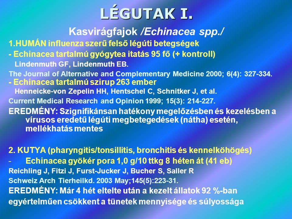 LÉGUTAK I. Kasvirágfajok /Echinacea spp./ 1.HUMÁN influenza szerű felső légúti betegségek - Echinacea tartalmú gyógytea itatás 95 fő (+ kontroll) Lind